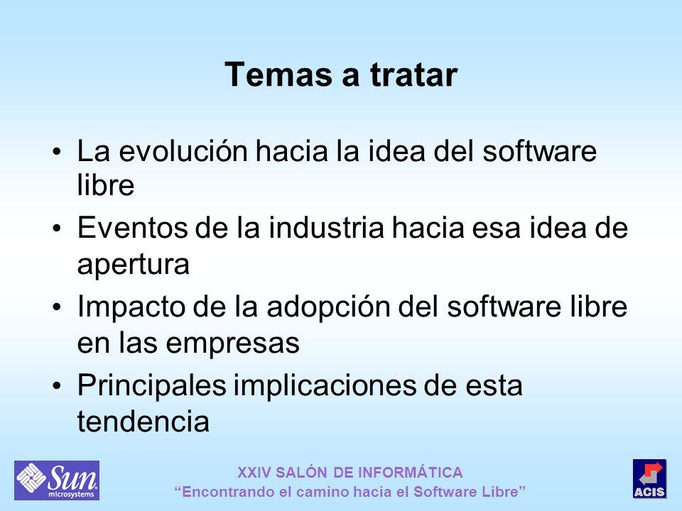XXIV SALÓN DE INFORMÁTICA Encontrando el camino hacia el Software Libre Temas a tratar La evolución hacia la idea del software libre Eventos de la ind