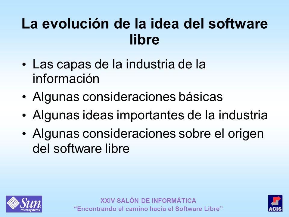 XXIV SALÓN DE INFORMÁTICA Encontrando el camino hacia el Software Libre La evolución de la idea del software libre Las capas de la industria de la inf