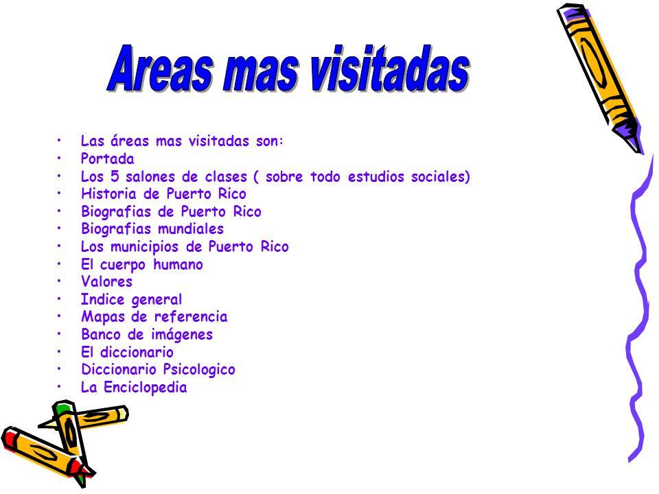 Las áreas mas visitadas son: Portada Los 5 salones de clases ( sobre todo estudios sociales) Historia de Puerto Rico Biografias de Puerto Rico Biograf