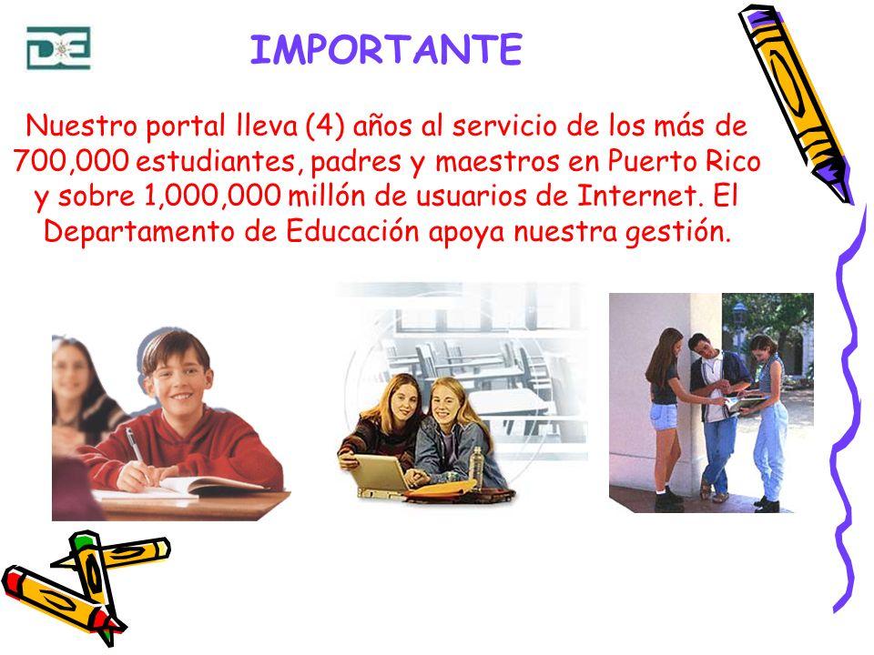 IMPORTANTE Nuestro portal lleva (4) años al servicio de los más de 700,000 estudiantes, padres y maestros en Puerto Rico y sobre 1,000,000 millón de u