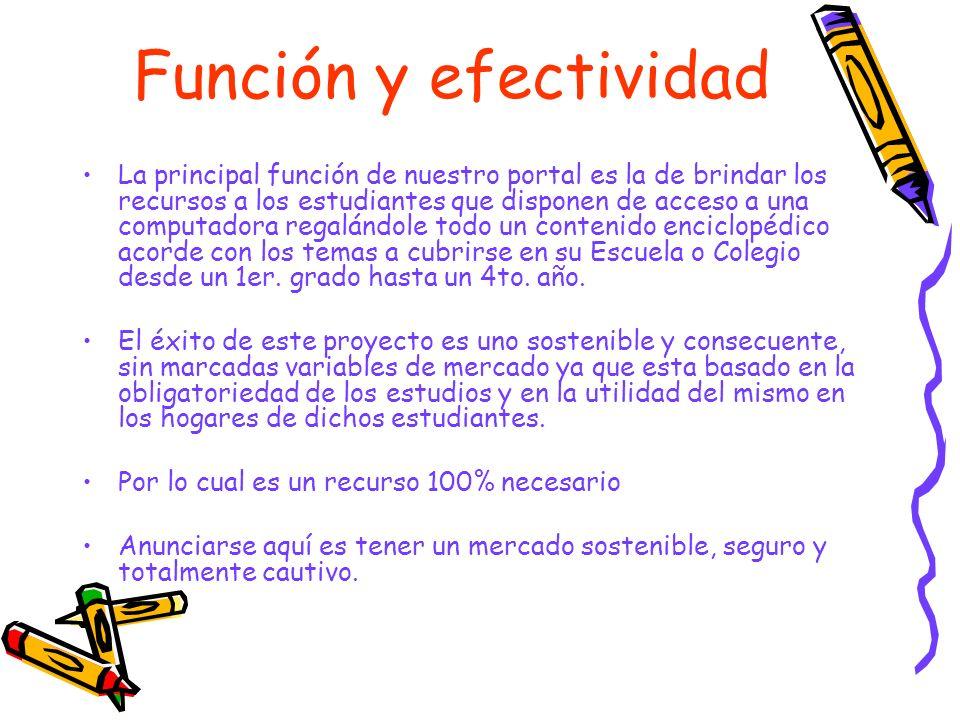 Función y efectividad La principal función de nuestro portal es la de brindar los recursos a los estudiantes que disponen de acceso a una computadora