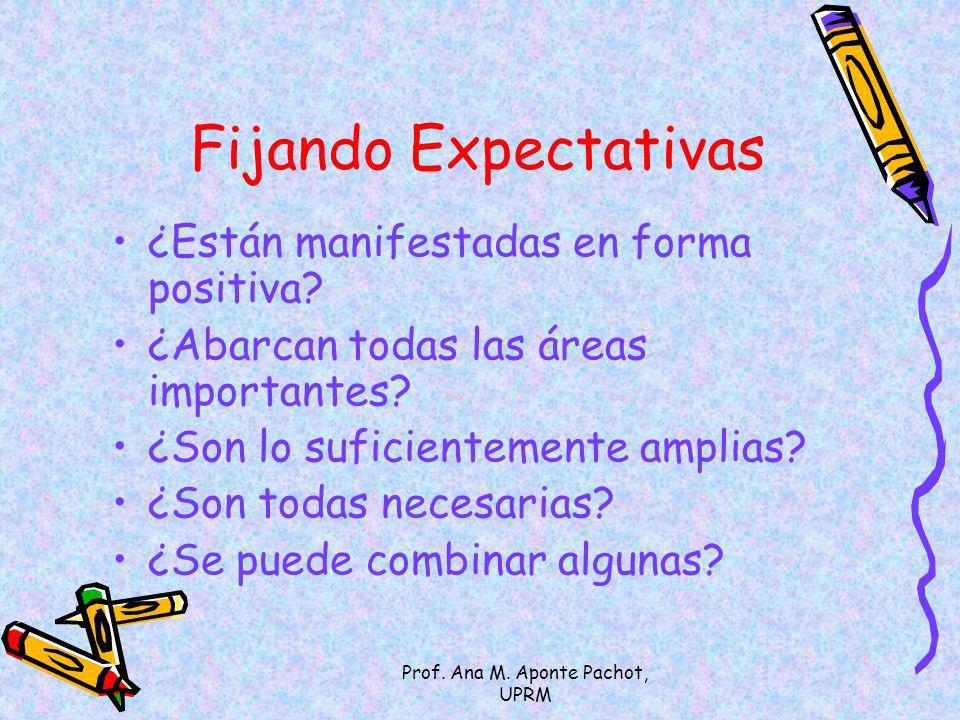 Prof. Ana M. Aponte Pachot, UPRM Fijando Expectativas ¿Están manifestadas en forma positiva? ¿Abarcan todas las áreas importantes? ¿Son lo suficientem
