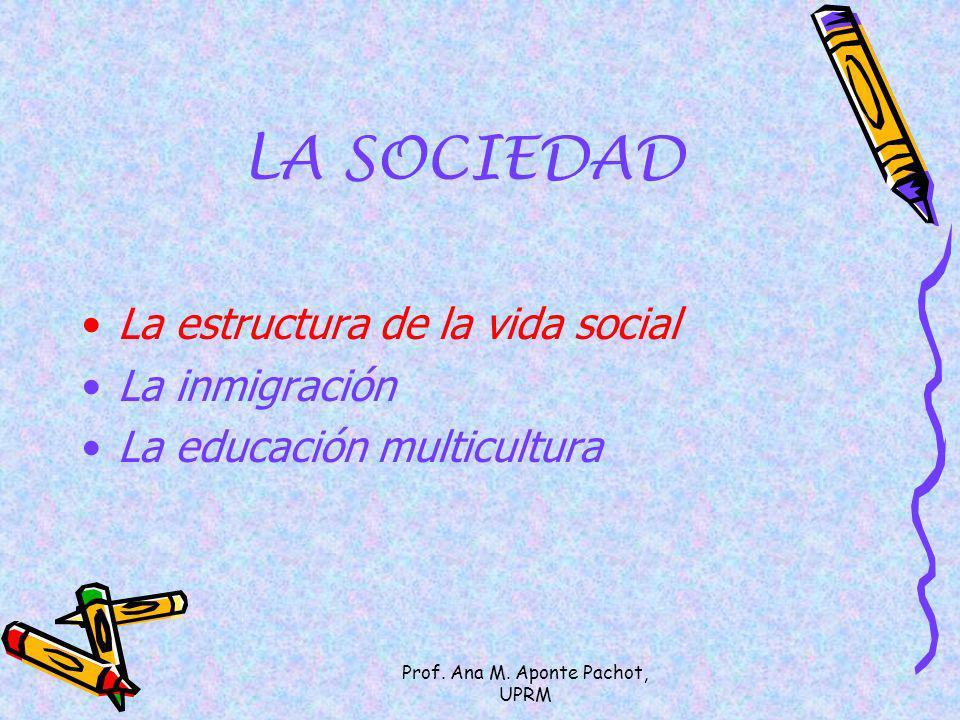 Prof. Ana M. Aponte Pachot, UPRM LA SOCIEDAD La estructura de la vida social La inmigración La educación multicultura