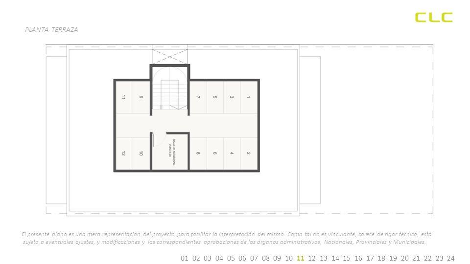 01 02 03 04 05 06 07 08 09 10 11 12 13 14 15 16 17 18 19 20 21 22 23 24 PLANTA TERRAZA El presente plano es una mera representación del proyecto para facilitar la interpretación del mismo.