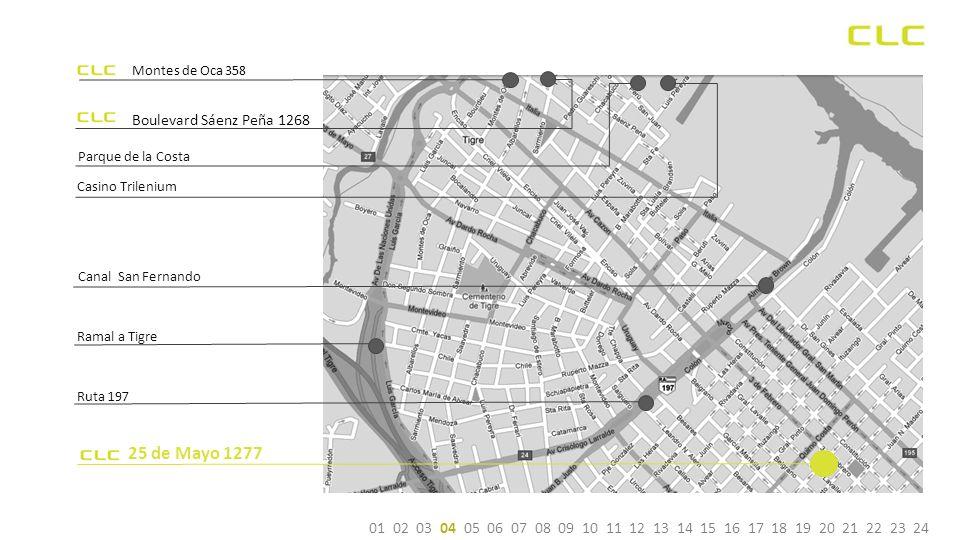 Boulevard Sáenz Peña 1268 Casino Trilenium Ramal a Tigre Canal San Fernando Parque de la Costa Montes de Oca 358 25 de Mayo 1277 Ruta 197