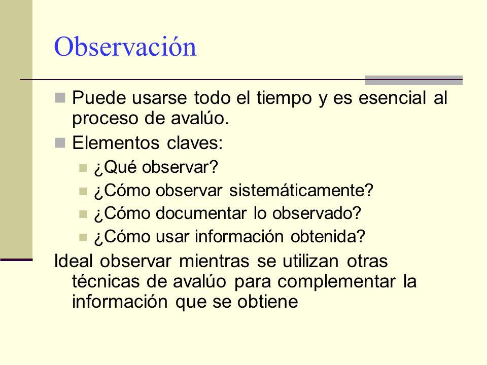 Observación Puede usarse todo el tiempo y es esencial al proceso de avalúo. Elementos claves: ¿Qué observar? ¿Cómo observar sistemáticamente? ¿Cómo do