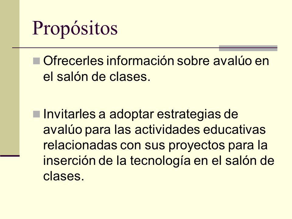 Propósitos Ofrecerles información sobre avalúo en el salón de clases. Invitarles a adoptar estrategias de avalúo para las actividades educativas relac