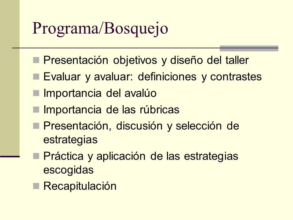 Programa/Bosquejo Presentación objetivos y diseño del taller Evaluar y avaluar: definiciones y contrastes Importancia del avalúo Importancia de las rú