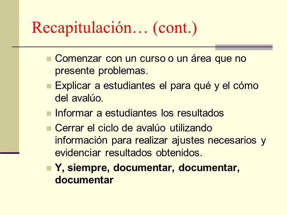 Recapitulación… (cont.) Comenzar con un curso o un área que no presente problemas. Explicar a estudiantes el para qué y el cómo del avalúo. Informar a