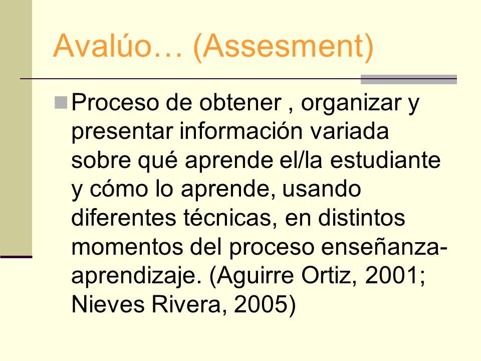 Avalúo… (Assesment) Proceso de obtener, organizar y presentar información variada sobre qué aprende el/la estudiante y cómo lo aprende, usando diferen