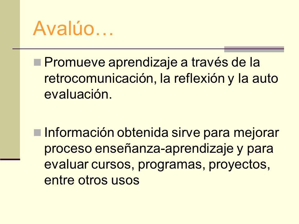 Avalúo… Promueve aprendizaje a través de la retrocomunicación, la reflexión y la auto evaluación. Información obtenida sirve para mejorar proceso ense