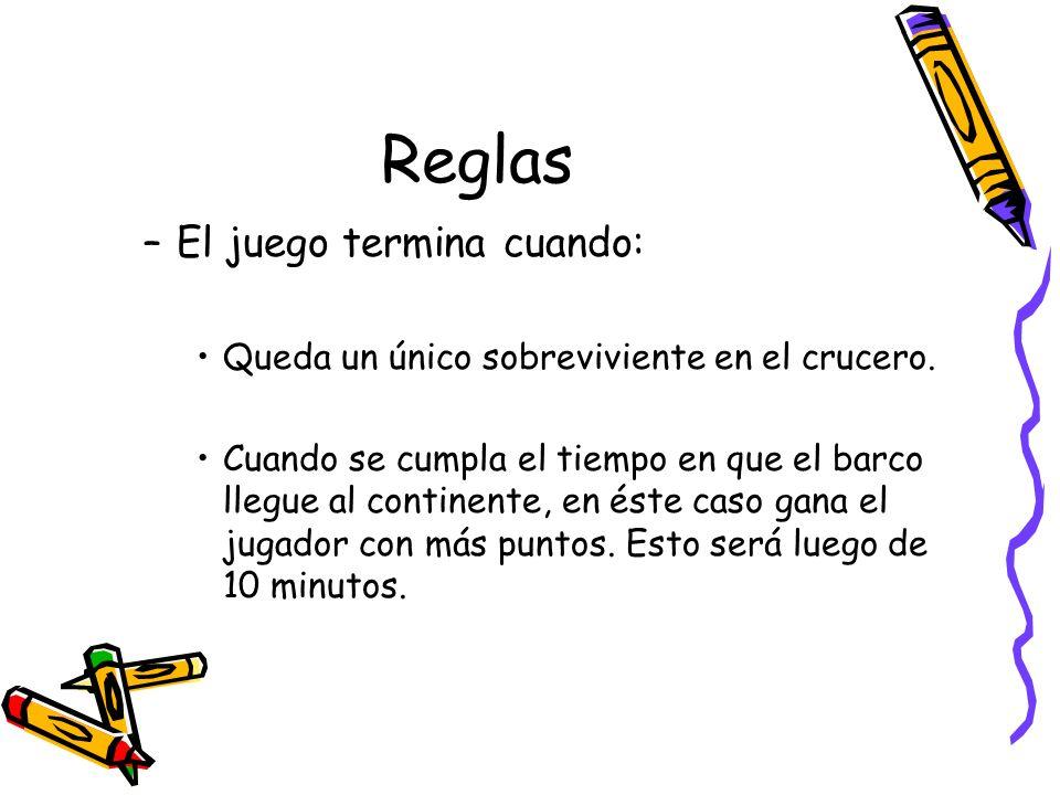Reglas –El juego termina cuando: Queda un único sobreviviente en el crucero. Cuando se cumpla el tiempo en que el barco llegue al continente, en éste