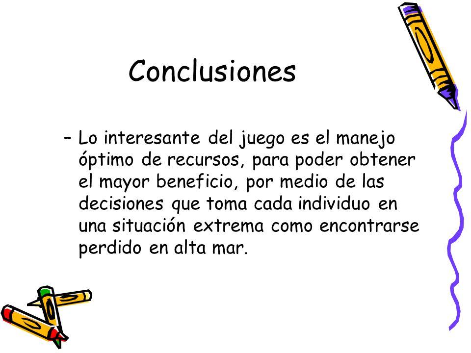 Conclusiones –Lo interesante del juego es el manejo óptimo de recursos, para poder obtener el mayor beneficio, por medio de las decisiones que toma ca
