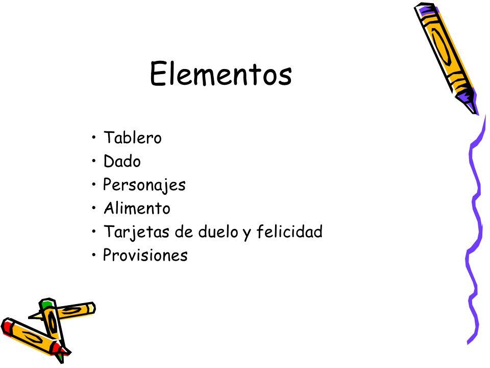 Elementos Tablero Dado Personajes Alimento Tarjetas de duelo y felicidad Provisiones