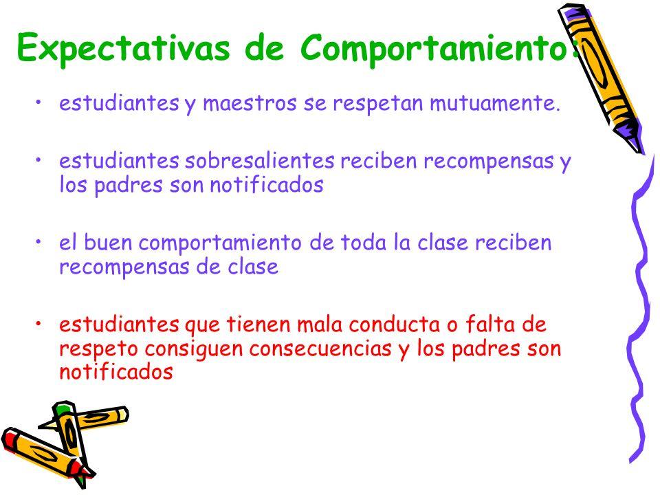 Expectativas de Comportamiento: estudiantes y maestros se respetan mutuamente.