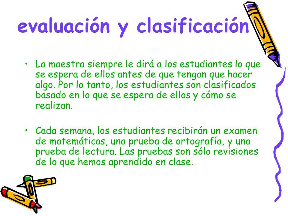 evaluación y clasificación La maestra siempre le dirá a los estudiantes lo que se espera de ellos antes de que tengan que hacer algo.
