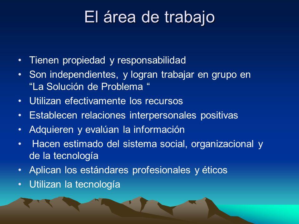 El área de trabajo Tienen propiedad y responsabilidad Son independientes, y logran trabajar en grupo en La Solución de Problema Utilizan efectivamente los recursos Establecen relaciones interpersonales positivas Adquieren y evalúan la información Hacen estimado del sistema social, organizacional y de la tecnología Aplican los estándares profesionales y éticos Utilizan la tecnología