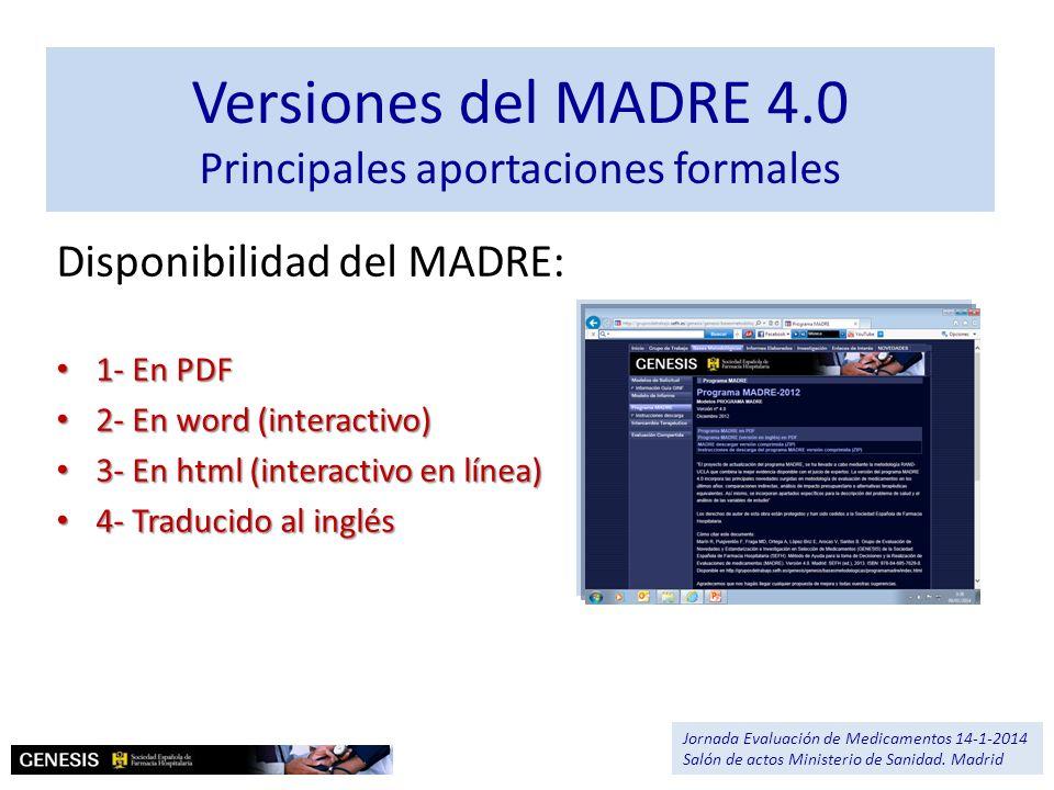 Versiones del MADRE 4.0 Principales aportaciones formales Disponibilidad del MADRE: 1- En PDF 1- En PDF 2- En word (interactivo) 2- En word (interacti