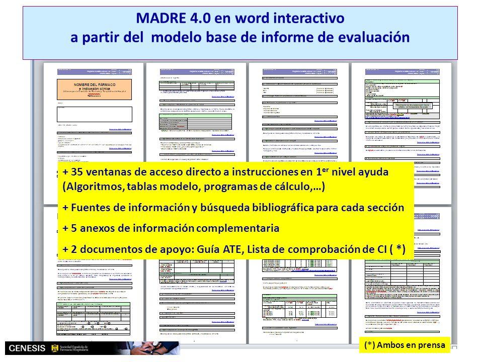 MADRE 4.0 Modelo de informe de evaluación MADRE 4.0 en word interactivo a partir del modelo base de informe de evaluación + 35 ventanas de acceso dire