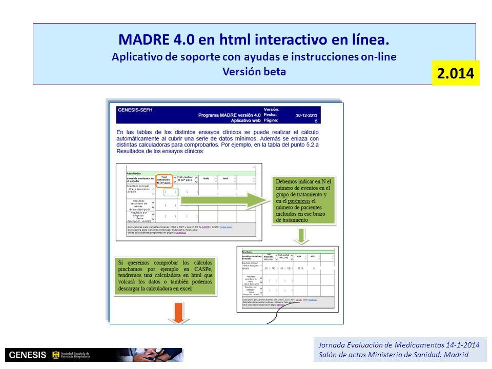MADRE 4.0 en html interactivo en línea. Aplicativo de soporte con ayudas e instrucciones on-line Versión beta Jornada Evaluación de Medicamentos 14-1-