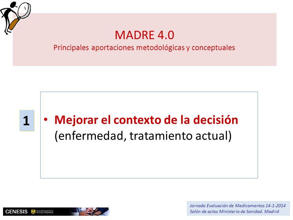 MADRE 4.0 Principales aportaciones metodológicas y conceptuales Mejorar el contexto de la decisión (enfermedad, tratamiento actual) 1 Jornada Evaluaci
