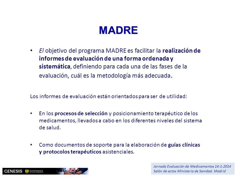 Versiones del MADRE 4.0 Principales aportaciones formales Disponibilidad del MADRE: 1- En PDF 1- En PDF 2- En word (interactivo) 2- En word (interactivo) 3- En html (interactivo en línea) 3- En html (interactivo en línea) 4- Traducido al inglés 4- Traducido al inglés Jornada Evaluación de Medicamentos 14-1-2014 Salón de actos Ministerio de Sanidad.
