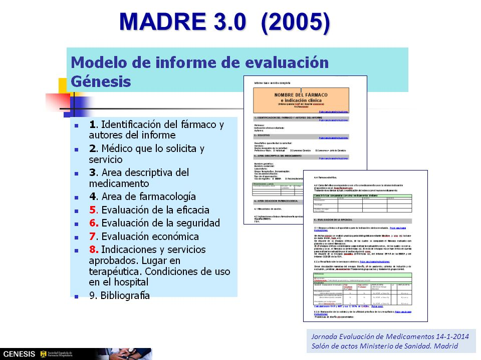 MADRE 3.0 (2005) Jornada Evaluación de Medicamentos 14-1-2014 Salón de actos Ministerio de Sanidad. Madrid