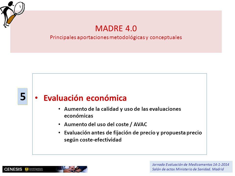 MADRE 4.0 Principales aportaciones metodológicas y conceptuales Evaluación económica Aumento de la calidad y uso de las evaluaciones económicas Aument