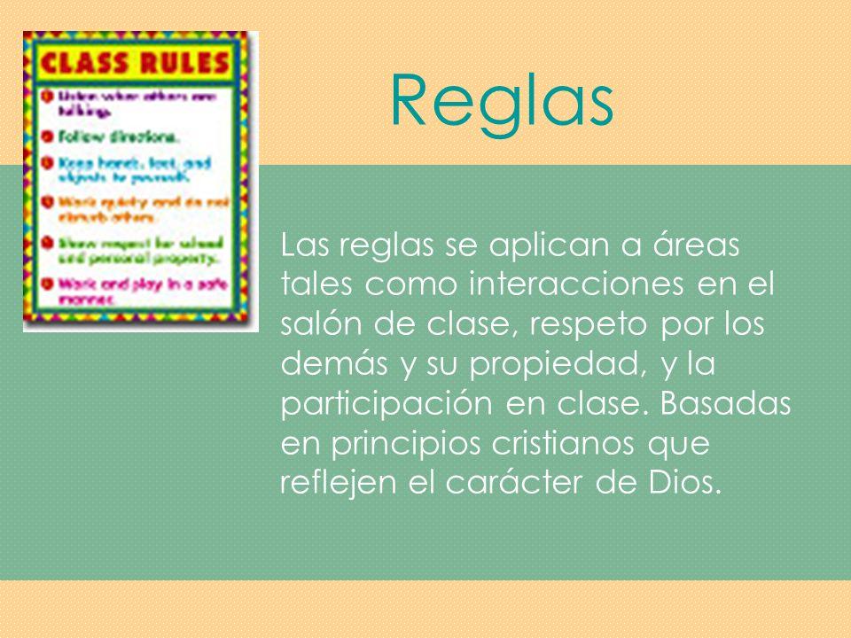 Reglas Asegúrese que las reglas estén redactadas de manera positiva.