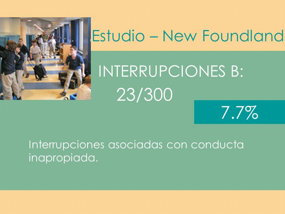 Estudio – New Foundland INTERRUPCIONES C: Estudiantes en clase sin sus materiales y estudiantes entrando y saliendo del salón.