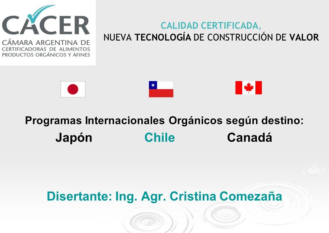 CALIDAD CERTIFICADA, NUEVA TECNOLOGÍA DE CONSTRUCCIÓN DE VALOR Programas Internacionales Orgánicos según destino: Canadá Japón Chile Canadá Disertante