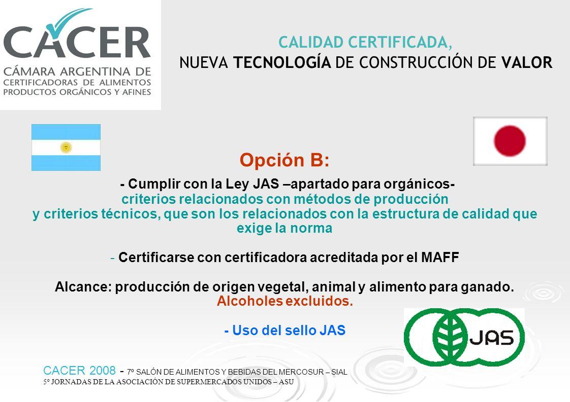 CALIDAD CERTIFICADA, NUEVA TECNOLOGÍA DE CONSTRUCCIÓN DE VALOR Opción B: - Cumplir con la Ley JAS –apartado para orgánicos- criterios relacionados con