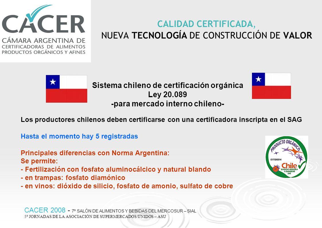 CALIDAD CERTIFICADA, NUEVA TECNOLOGÍA DE CONSTRUCCIÓN DE VALOR CACER 2008 - 7º SALÓN DE ALIMENTOS Y BEBIDAS DEL MERCOSUR – SIAL 5º JORNADAS DE LA ASOC