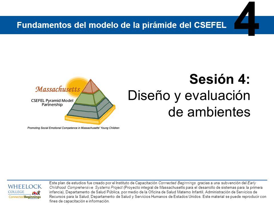 Fundamentos del modelo de la pirámide del CSEFEL | Sesión 4 | Diapositiva 32 Mensajes principales de la Sesión 4 El ambiente está compuesto por el espacio físico, la distribución del mobiliario, las rutinas, los horarios, las transiciones y el carácter emocional del espacio.