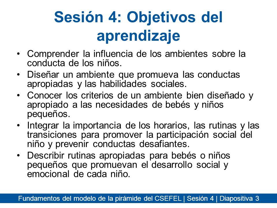 Fundamentos del modelo de la pirámide del CSEFEL | Sesión 4 | Diapositiva 24 Transiciones Planifique las transiciones –Reduzca al mínimo el número de transiciones que los niños tendrán durante el día.