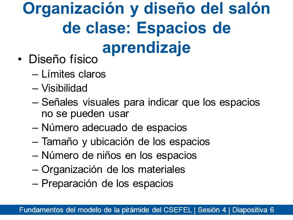 Fundamentos del modelo de la pirámide del CSEFEL | Sesión 4 | Diapositiva 7 Crear áreas de aprendizaje estimulantes y con significado Póngase en el centro del salón –¿Hay una entrada clara a cada espacio.