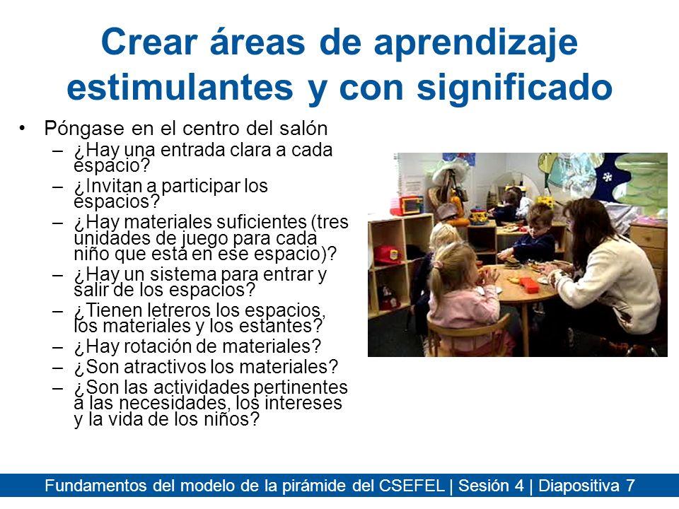 Fundamentos del modelo de la pirámide del CSEFEL | Sesión 4 | Diapositiva 18 Horarios y rutinas Programe un horario que promueva la participación y el éxito del niño.