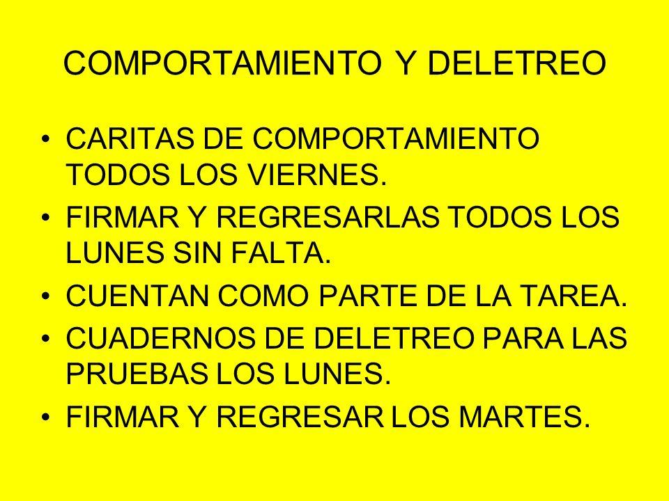 COMPORTAMIENTO Y DELETREO CARITAS DE COMPORTAMIENTO TODOS LOS VIERNES. FIRMAR Y REGRESARLAS TODOS LOS LUNES SIN FALTA. CUENTAN COMO PARTE DE LA TAREA.