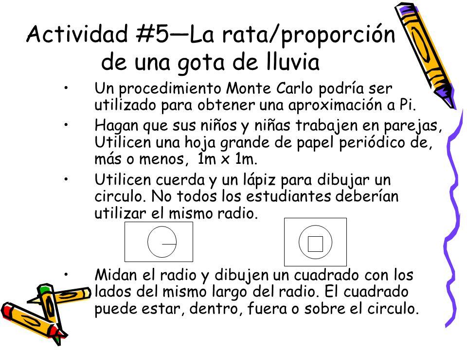 Actividad #5La rata/proporción de una gota de lluvia Un procedimiento Monte Carlo podría ser utilizado para obtener una aproximación a Pi.