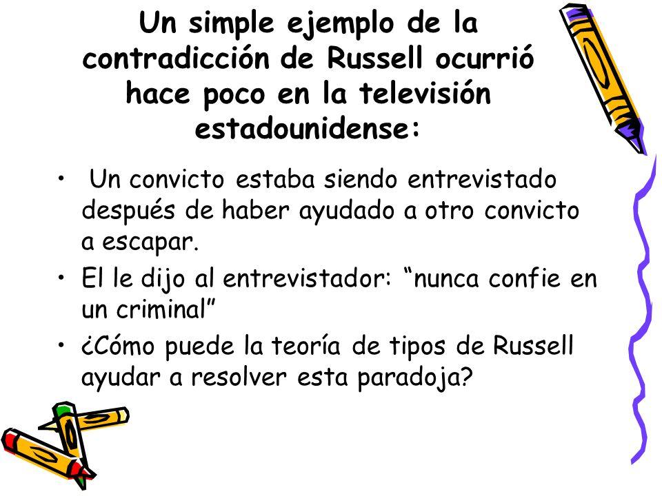 Un simple ejemplo de la contradicción de Russell ocurrió hace poco en la televisión estadounidense: Un convicto estaba siendo entrevistado después de haber ayudado a otro convicto a escapar.