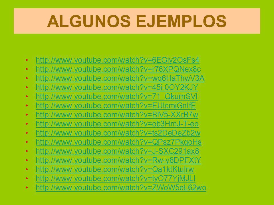 ALGUNOS EJEMPLOS http://www.youtube.com/watch?v=6EGiy2OsFs4 http://www.youtube.com/watch?v=r76XPQNex8c http://www.youtube.com/watch?v=wq6HaThwV3A http://www.youtube.com/watch?v=45i-0OY2KJY http://www.youtube.com/watch?v=71_QkurnSVI http://www.youtube.com/watch?v=EUIcmiGnIfE http://www.youtube.com/watch?v=BlV5-XXrB7w http://www.youtube.com/watch?v=ob3HmJ-T-eo http://www.youtube.com/watch?v=ts2DeDeZb2w http://www.youtube.com/watch?v=QPsz7PkqoHs http://www.youtube.com/watch?v=J-SXC291ax8 http://www.youtube.com/watch?v=Rw-y8DPFXtY http://www.youtube.com/watch?v=Qa1ktKtuIrw http://www.youtube.com/watch?v=tyO77YjMJLI http://www.youtube.com/watch?v=ZWoW5eL62wo