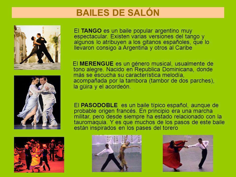 BAILES DE SALÓN El MERENGUE es un género musical, usualmente de tono alegre.
