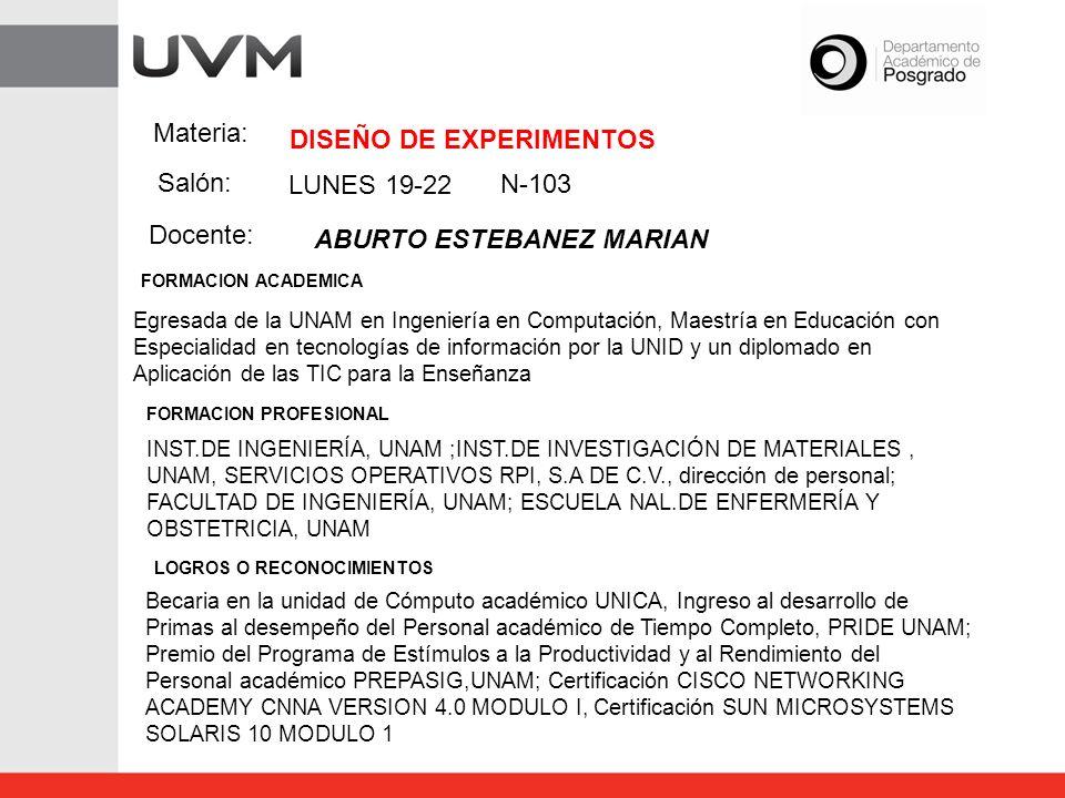 Materia: Salón: Docente: DISEÑO DE EXPERIMENTOS N-103 ABURTO ESTEBANEZ MARIAN Egresada de la UNAM en Ingeniería en Computación, Maestría en Educación
