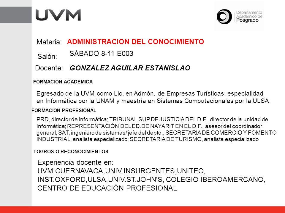 Materia: Salón: Docente: FORMACION ACADEMICA FORMACION PROFESIONAL BASES DE DATOS SÁBADO 11-14I004 MORALES RAZO CESAR Egresado de la Universidad de Guanajuato como Lic.en Comercio internacional, maestria en Administración por la UNIV.del VALLE DE ATEMAJAC; master in Management por SOUHTERN OREGON UNIVERSITY, ASHLAND; diplomado en Producción y manejo de materiales (CPIMde APICS), diplomado de Altas Finanzas por BANCOMEXT y curso de Sistemas de Jalar por AMERICAN AXLE.