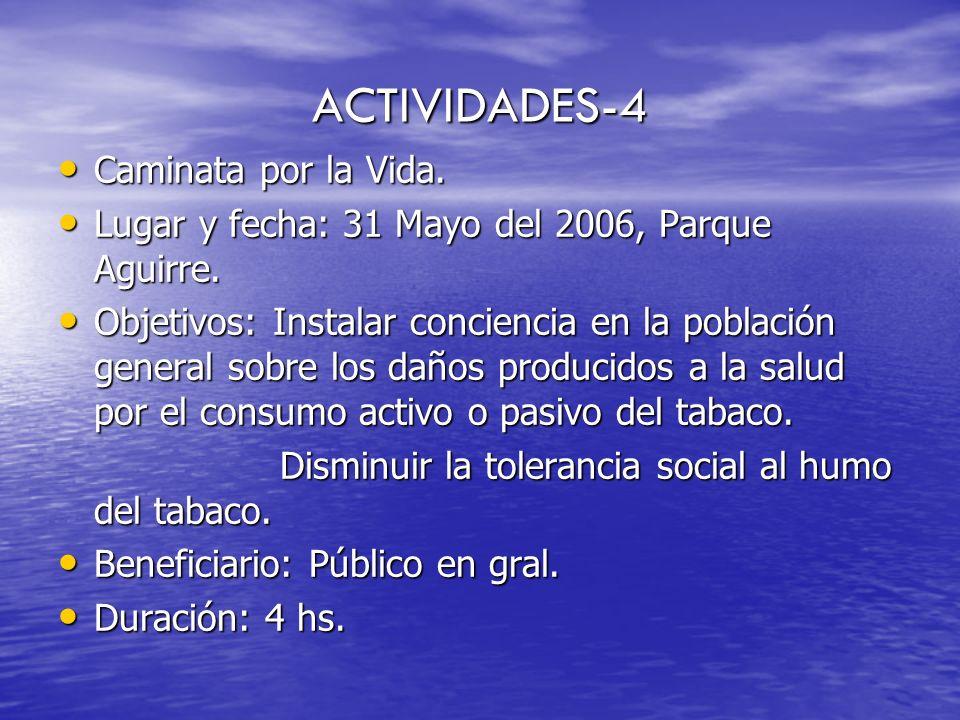 ACTIVIDADES-4 Caminata por la Vida. Caminata por la Vida. Lugar y fecha: 31 Mayo del 2006, Parque Aguirre. Lugar y fecha: 31 Mayo del 2006, Parque Agu
