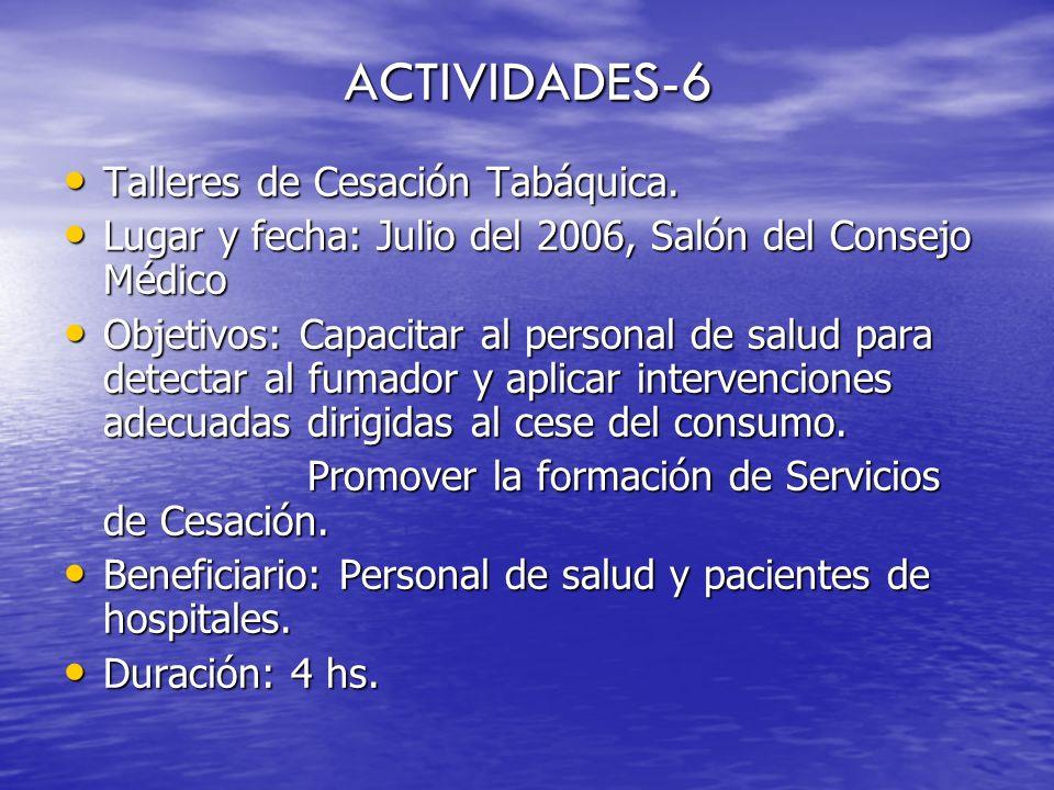 ACTIVIDADES-6 Talleres de Cesación Tabáquica. Talleres de Cesación Tabáquica. Lugar y fecha: Julio del 2006, Salón del Consejo Médico Lugar y fecha: J