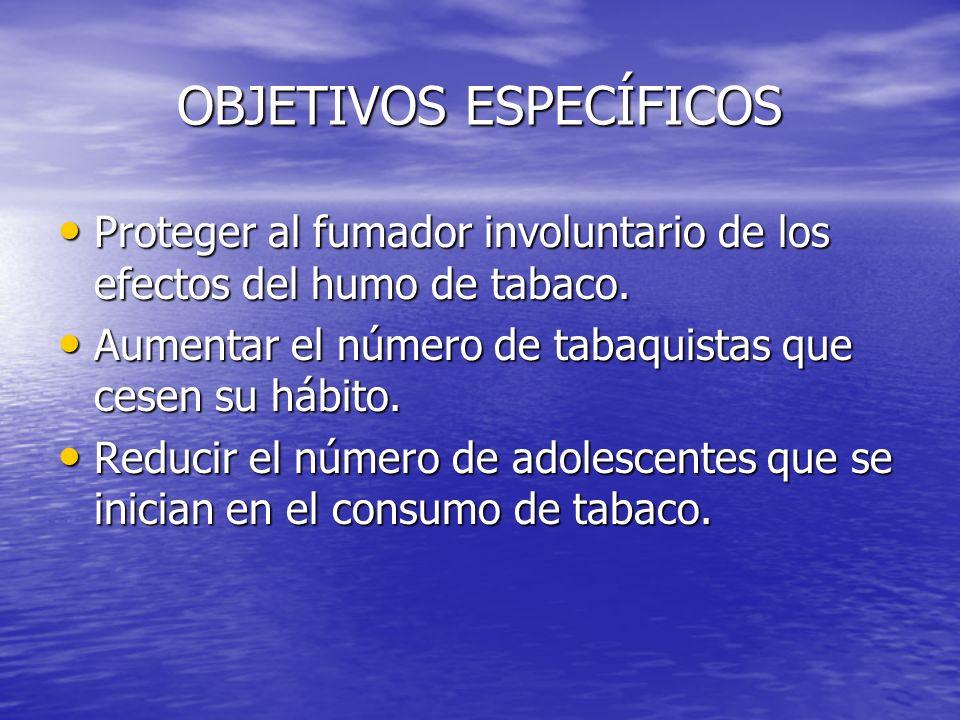 OBJETIVOS ESPECÍFICOS Proteger al fumador involuntario de los efectos del humo de tabaco. Proteger al fumador involuntario de los efectos del humo de