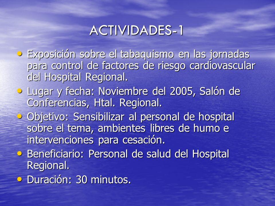 ACTIVIDADES-1 Exposición sobre el tabaquismo en las jornadas para control de factores de riesgo cardiovascular del Hospital Regional. Exposición sobre
