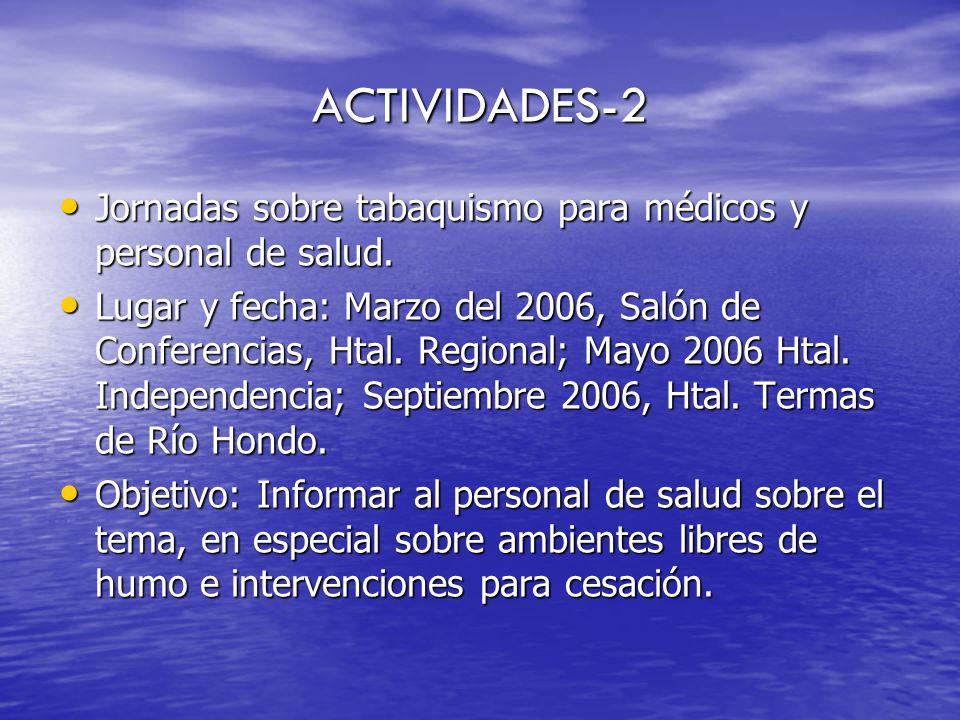 ACTIVIDADES-3 Jornadas sobre tabaquismo para periodistas.