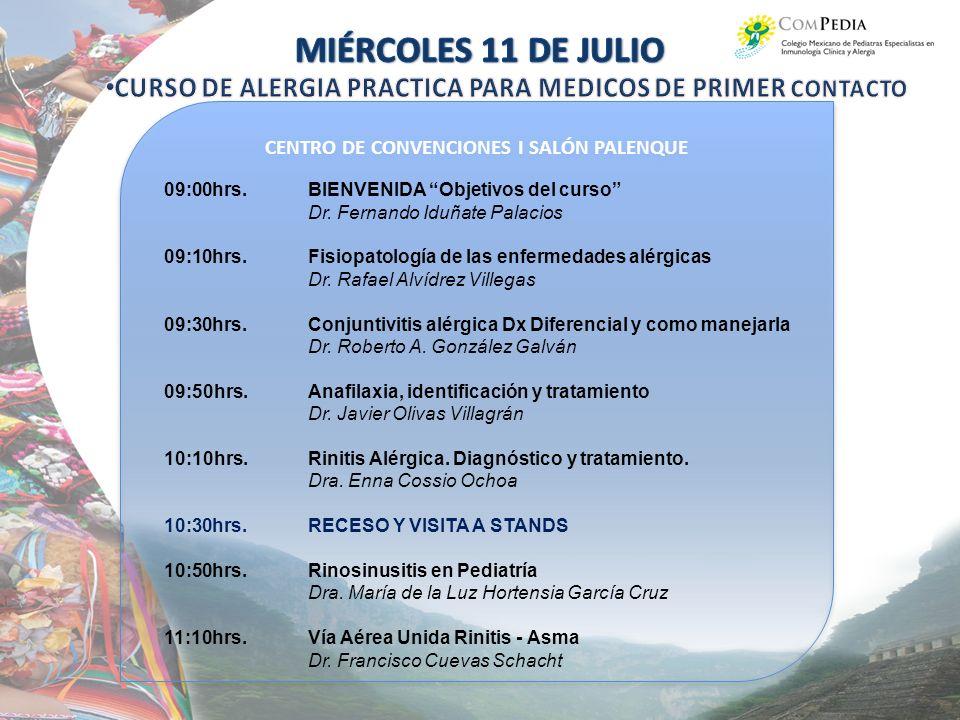 CENTRO DE CONVENCIONES I SALÓN PALENQUE 09:00hrs.BIENVENIDA Objetivos del curso Dr.